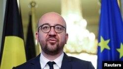 샤를미셸벨기에총리가27일 벨기에 브뤼셀에서 EU-캐나다 자유무역협정에 관한 회의 결과를 발표하고 있다.
