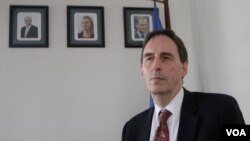 George Edgar, European Union Ambassador to Cambodia, sits during an interview inside his Phnom Penh office in March. (Aun Chhengpor/VOA Khmer)