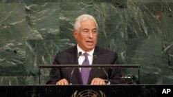 안토니우 코스타 포르투갈 총리가 지난달 20일 뉴욕에서 열린 유엔 총회에서 기조연설을 하고 있다. 포르투갈 정부는 안보리 대북결의의 철저한 이행을 위해 북한과의 외교관계를 중단할 것이라고 VOA에 밝혔다.