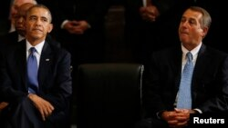 Tổng thống Hoa Kỳ Barack Obama và Chủ Tịch Hạ Viện John Boehner tại điện Capitol ở Washington.