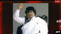 Ảnh chụp từ đài truyền hình Arrai Syria-cho thấy ông Gadhafi trong thông điệp phát đi từ một địa điểm không được tiết lộ, ngày 8/9/2011