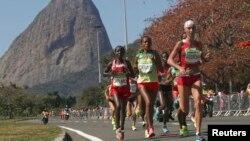 Finale du Marathon des femmes aux Jeux Olympiques de Rio au Brésil, le 14 Août 2016.