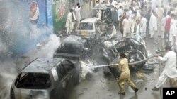 8月31日巴基斯坦奎达市自杀汽车炸弹袭击现场