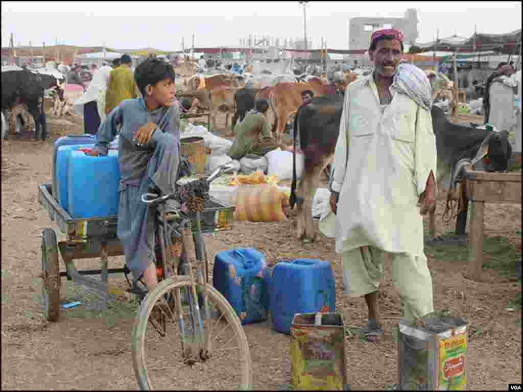 بیوپاریوں کے علاوہ بھی کئی افراد کا کاروبار منڈی سے وابستہ ہے جن میں جانوروں کے پینے کے لئے پانی کا انتظام کرنے والا یہ شخص بھی شامل ہے