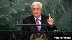 30일 미국 뉴욕 유엔 본부에서 열린 제 70차 유엔총회에서 마하무드 압바스 팔레스타인 자치정부 수반이 기조연설을 하고 있다.