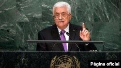 Pemimpin Palestina Mahmoud Abbas memberikan pidato pada Sidang Umum PBB di New York hari Rabu (30/9).
