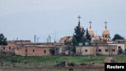 A general view shows a church in the Assyrian village of Abu Tina, which was recently captured by Islamic State fighters, Feb. 25, 2015.