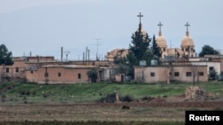 A general view shows a church in the Assyrian village of Abu Tina, Syria, which was recently captured by Islamic State fighters.