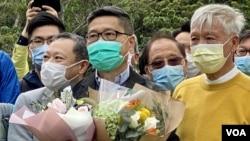 香港和平佔中三名發起人朱耀明(右起)、陳健民及戴耀廷。(攝影: 美國之音湯惠芸)
