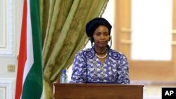 FILE - South African Minister of International Relations and Cooperation Maite Nkoana Mashabane, May 11, 2015.