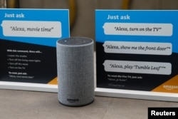 Prompts on how to use Amazon's Alexa personal assistant in Vallejo, California, May 8, 2018.