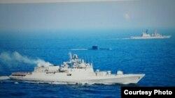 """日本護衛艦""""雨霧號""""與印度海軍護衛艦、潛水艇1月18日在印度洋孟買附近海域聯合訓練(海上自衛隊公開資料)"""