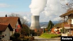 FILE - Steam emerges from a cooling tower of the nuclear power plant Leibstadt near Leibstadt, Switzerland, Nov. 18, 2014.