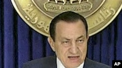 Egypt's President Hosni Mubarak speaking on television, February 1, 2011