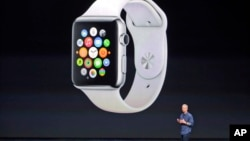 FILE - Apple CEO Tim Cook introduces the new Apple Watch on Tuesday, Sept. 9, 2014, in Cupertino, Calif. Apple's new wearable device marks the company's first major entry in a new product category since the iPad's debut in 2010.