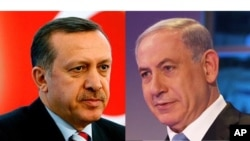 Le président turc Recep Tayyip Erdoğan (à gauche) et le premier ministre Israëlien Benjamin Netanyahu (à droite)
