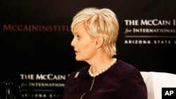 FILE - Cindy McCain, head of the Human Trafficking Advisory Council is seen at the McCain Institute for International Leadership.