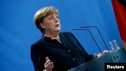 Thủ tướng Đức Angela Merkel trong một cuộc họp báo tại Berlin, Đức, ngày 16 tháng 01 năm 2017.