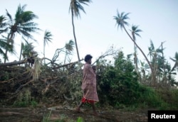 A woman carrying her baby walks past fallen trees on the southern island of Tanna, where residents told relief workers they were running low on food and other basic supplies, March 18, 2015.