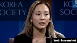 북한인권 문제에 대해 강연하는 실비아 김 변호사. 유튜브 영상 캡처.