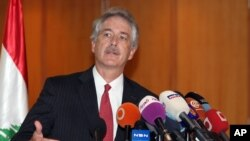 U.S. Deputy Secretary of State William Burns speaks during a press conference at Rafik Hariri International Airport in Beirut, Lebanon, July 13, 2012.