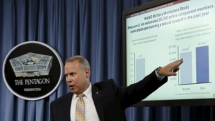 FILE - Nathan Galbreath, senior executive advisor for the Department of Defense Sexual Assault Prevention and Response Office, speaks at a news conference at the Pentagon in Washington to release the Annual Report on Sexual Assault in the Military, May 1, 2015.