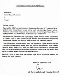 Surat MS untuk warganet.