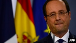French President Francois Hollande looks on during a press conference at the Moncloa palace as part of an Hispano-French summit in Madrid, Nov. 27, 2013.