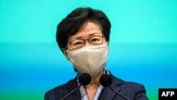 香港特首林郑月娥在香港举行的每周例行记者会上讲话。(2020年6月9日)