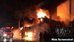 Vụ cháy sáng ngày 14/12/2017, tại một nhà máy sản xuất phim năng lượng mặt trời, ở quận Luzhu, thành phố Đào Viên, Đài Loan. (Photo Focus Taiwan)