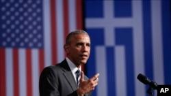 그리스 아테네를 방문한 바락 오바마 미국 대통령이 16일 스타브로스 나아르코스 재단서 연설했다.