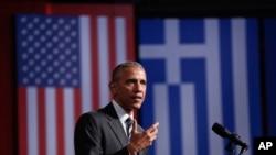 Le président américain Obama parle à la fondation Stavros Niarchos à Athènes, le 16 novembre 2016.