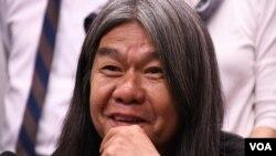 香港民主派前立法會議員梁國雄 (美國之音湯惠芸拍攝)