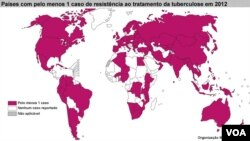 Tuberculose - Mapa de países com pelo menos um caso de resistência ao tratamento no final do ano de 2012