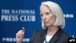 International Monetary Fund (IMF) Managing Director Christine Lagarde discussing the global economy in Washington on January 15.