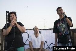 Heartbeat concert in Haifa (left to right) Yasmina Abu Nassar, Ami Yares, Moody Kablawi. (Osseily Hanna)