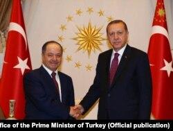 Turkiya rahbari Rajab Toyyip Erdog'an Iroq Kurdistoni rahbari Mas'ud Barzaniy bilan, Anqara, 2016
