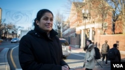 TPS recipient Doris Reina-Landaverde, a custodian at Harvard University, says some of the most difficult conversations she has had to date have been with her three U.S.-born children. (R. Taylor/VOA)