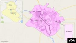 Peta wilayah al-Karamah, Mosul, Irak.