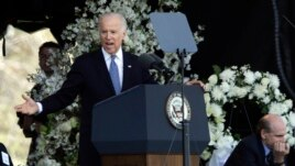 Vice President Joe Biden speaks at a memorial service for slain MIT campus officer, Sean Collier, in Cambridge, Massachusetts, Apr. 24, 2013.