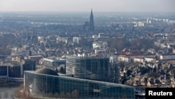 An aerial view shows the building of the European Parliament in Strasbourg, France, Feb. 21, 2013.