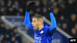 Islam Slimani lors d'un match entre son club Leicester City et Middlesbrough, Angleterre, le 26 novembre 2016.