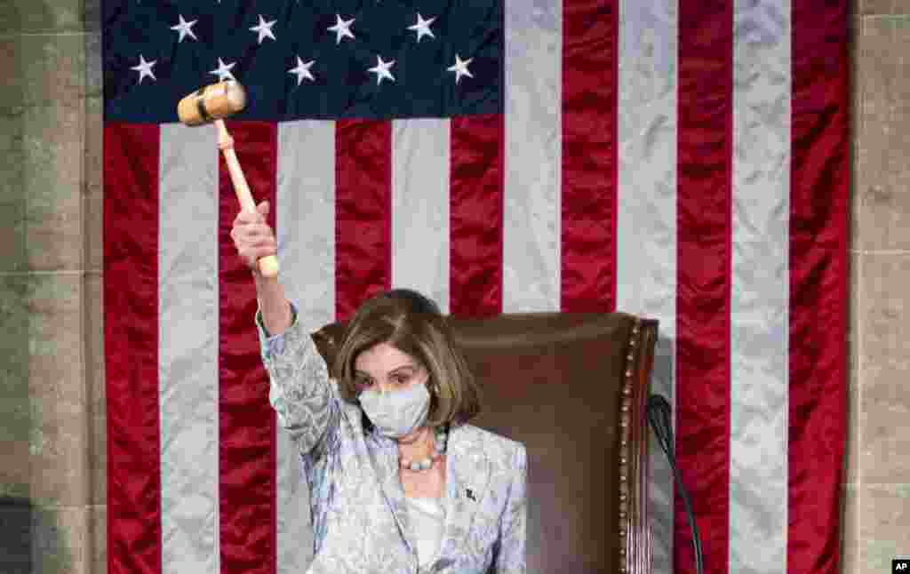 Speaker of the House Nancy Pelosi of Calif., waves the gavel on the opening day of the 117th Congress on Capitol Hill in Washington, D.C., Jan. 3, 2021.