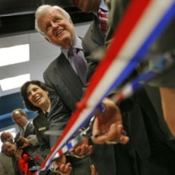 Senator Kennedy takes part in a ribbon cutting ceremony during the opening of the Corson Building in New Bedford, Mass