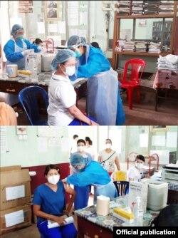 ကရင္ျပည္နယ္၊ ေကာ့ကရိတ္ခ႐ိုင္အတြင္းရွိ က်န္းမာေရးဝန္ထမ္းမ်ားကို ကိုဗစ္ကာကြယ္ေဆး ထိုးႏွံေပးေနတဲ့ ျမင္ကြင္း။ (ဓာတ္ပုံ -Ministry of Health and Sports, Myanmar - ဇန္နဝါရီ ၂၇၊ ၂၀၂၁)