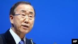 联合国秘书长潘基文在多哈气候变化会议上讲话