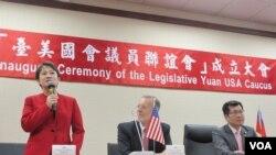 """台灣立法院2020年7月20日舉行第十屆""""台美國會議員聯誼會""""成立大會(美國之音張永泰拍攝)"""