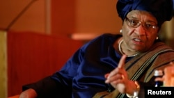 President of Liberia Ellen Johnson Sirleaf makes a point during an interview with Reuters in Washington, May 17, 2013. ( file photo)