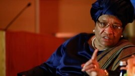 President of Liberia Ellen Johnson Sirleaf makes a point during an onstage newsmakers interview with Reuters journalist Axel Threlfall in Washington, May 17, 2013 file photo.