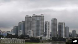 북한 평양 만수대 지구에 세워진 고층 아파트. (자료사진)